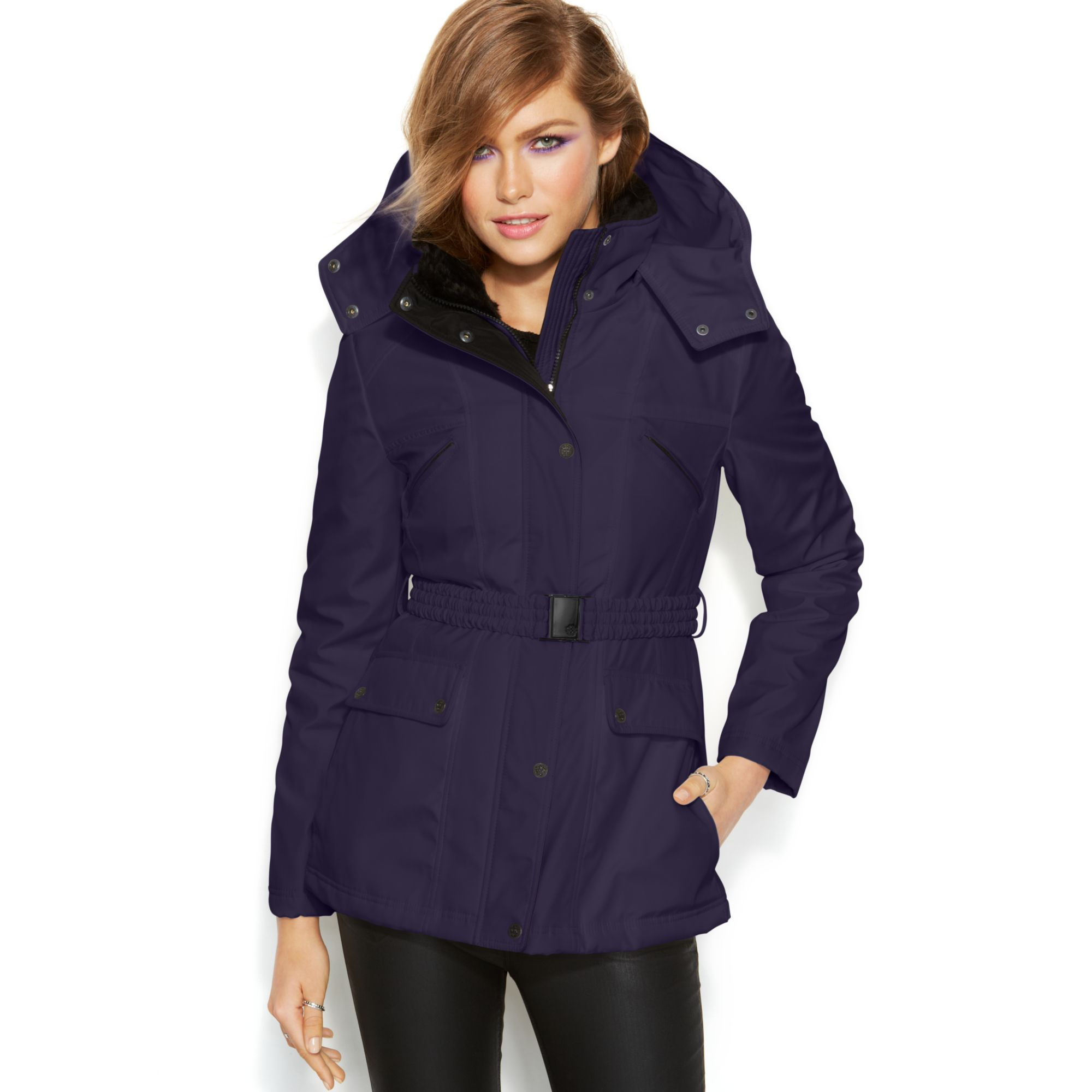 Jessica Simpson Hooded Faux Fur Collar Belted Puffer In