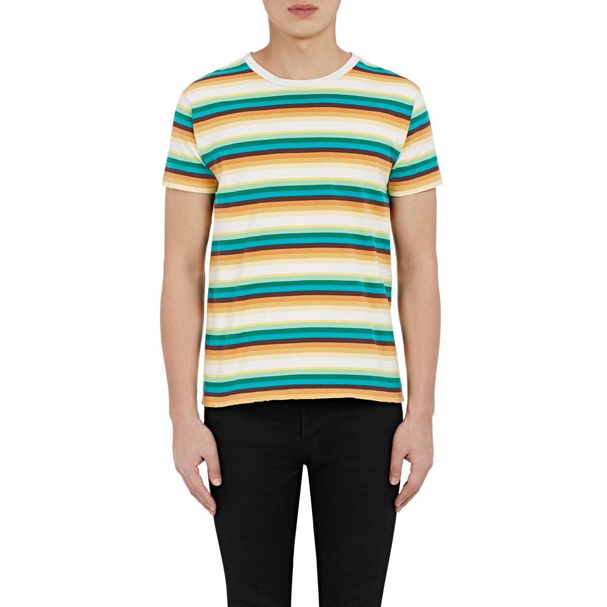 Saint laurent men 39 s striped jersey t shirt in blue for men for Blue white striped t shirt mens
