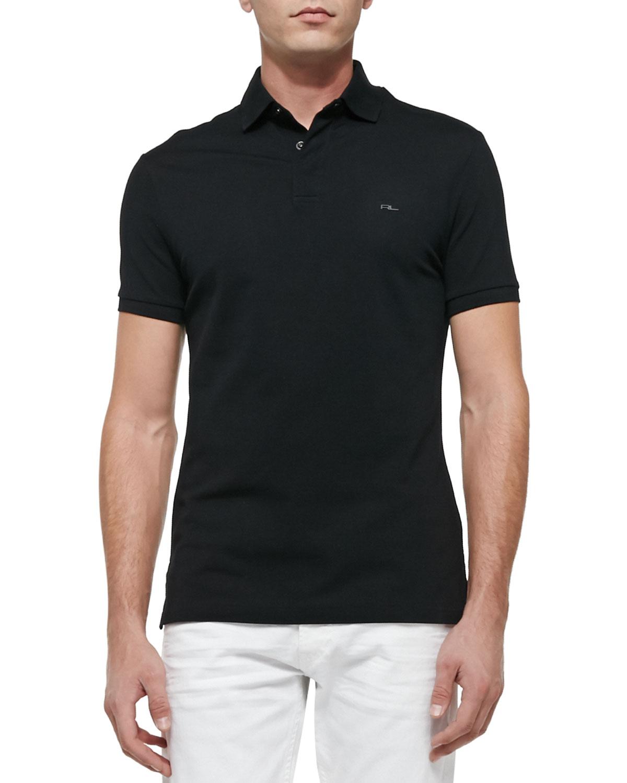 Ralph lauren black label mesh knit polo shirt in black for for Ralph lauren black label polo shirt