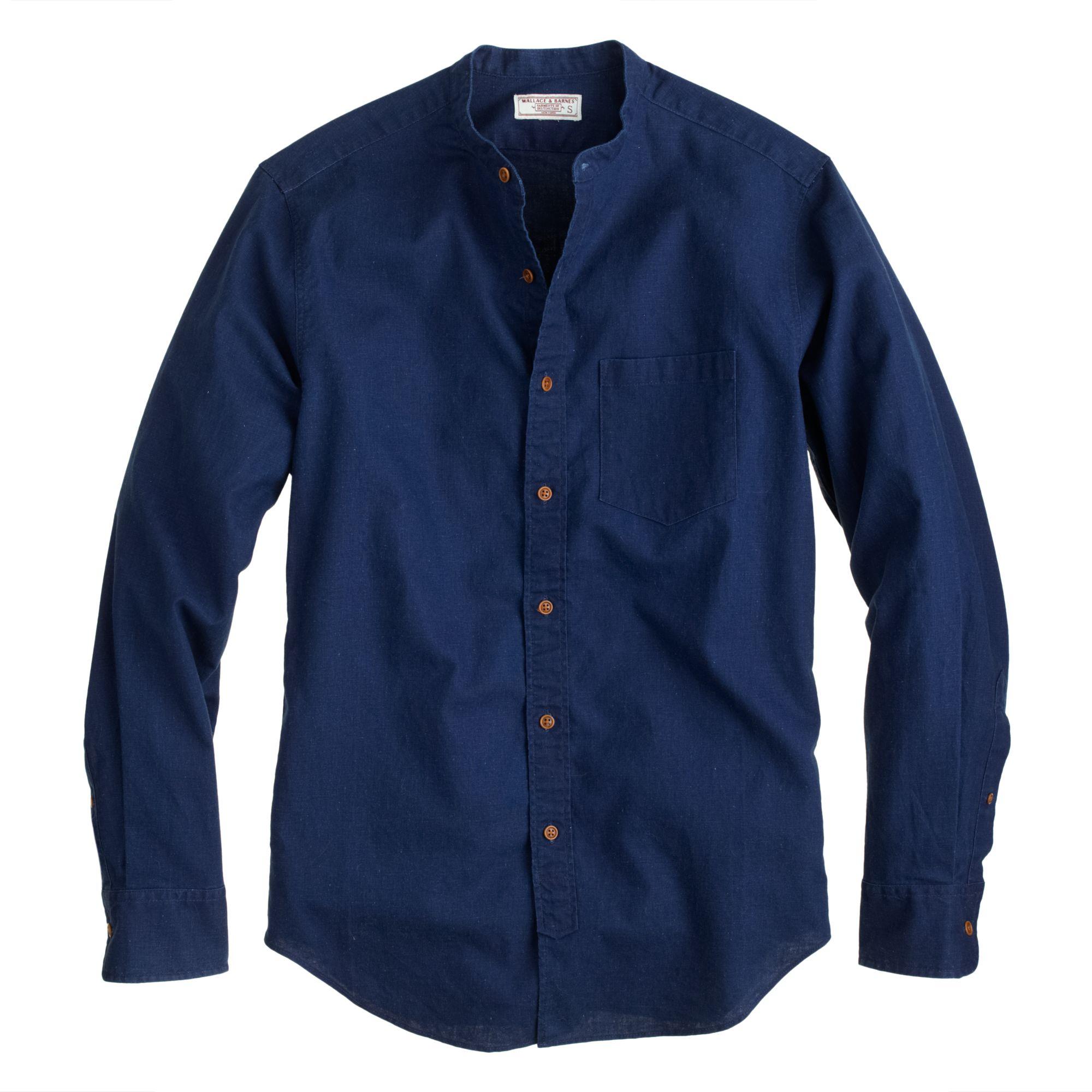 wallace barnes band collar shirt in irish cotton
