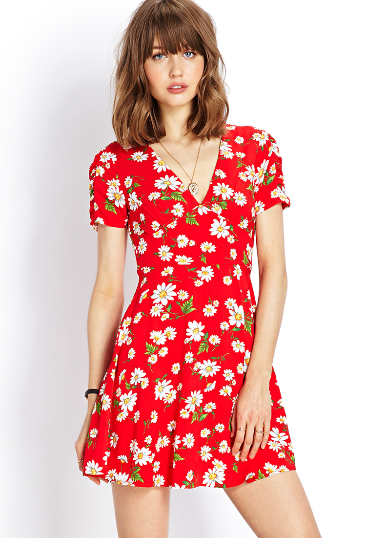 50s style dress red daisy