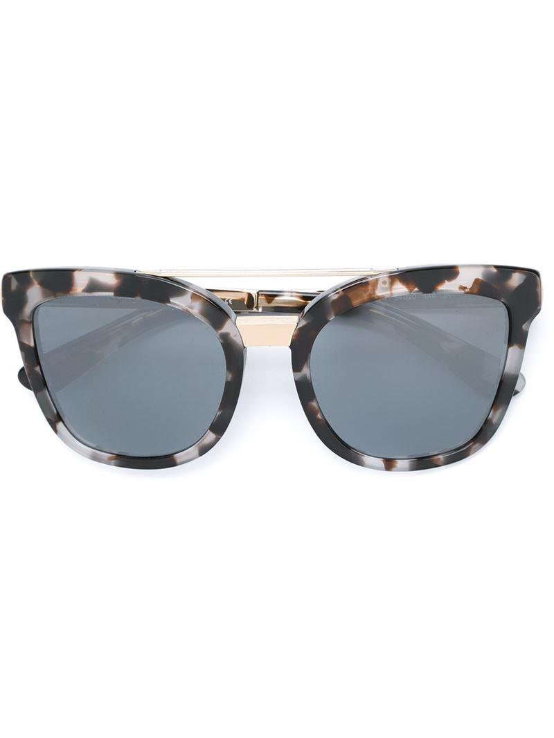 Dolce And Gabbana White Frame Glasses : Dolce & gabbana Oval Frame Sunglasses in White Lyst
