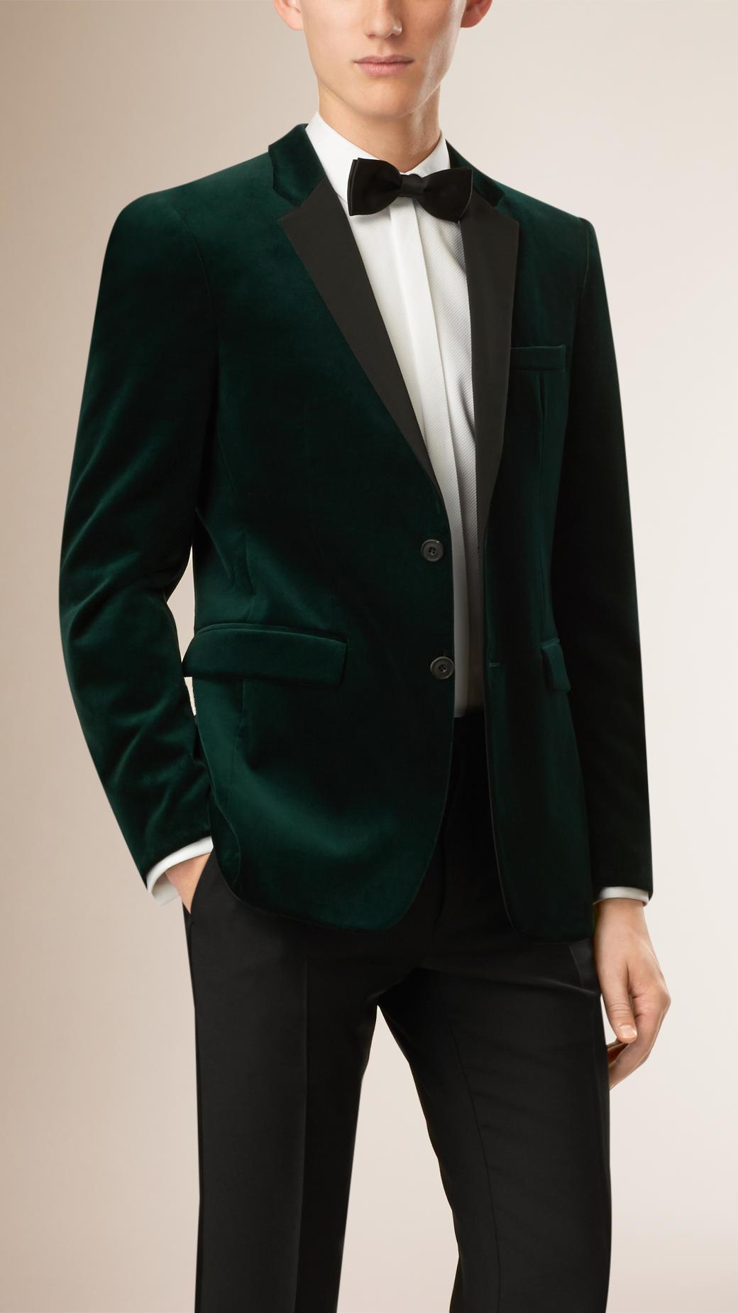 Burberry Slim-Fit Velvet Tuxedo Jacket in Green for Men | Lyst