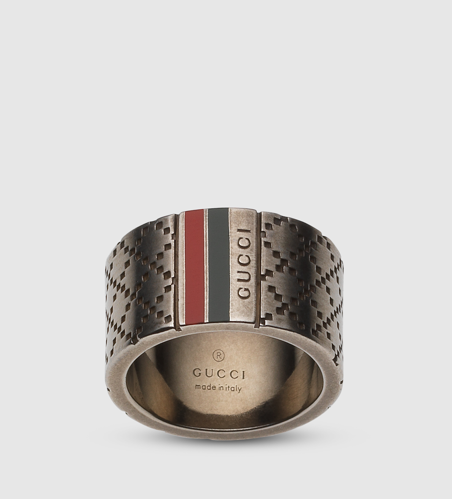 94d62ea929fa Gucci Wide Ring With Diamante Motif in Metallic for Men - Lyst