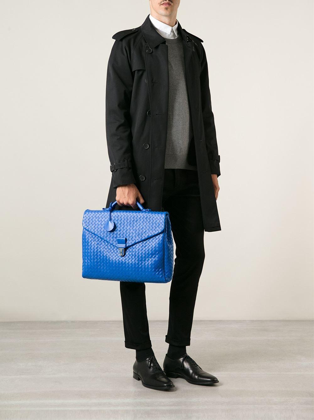 Lyst Bottega Veneta Intrecciato Briefcase In Blue For Men