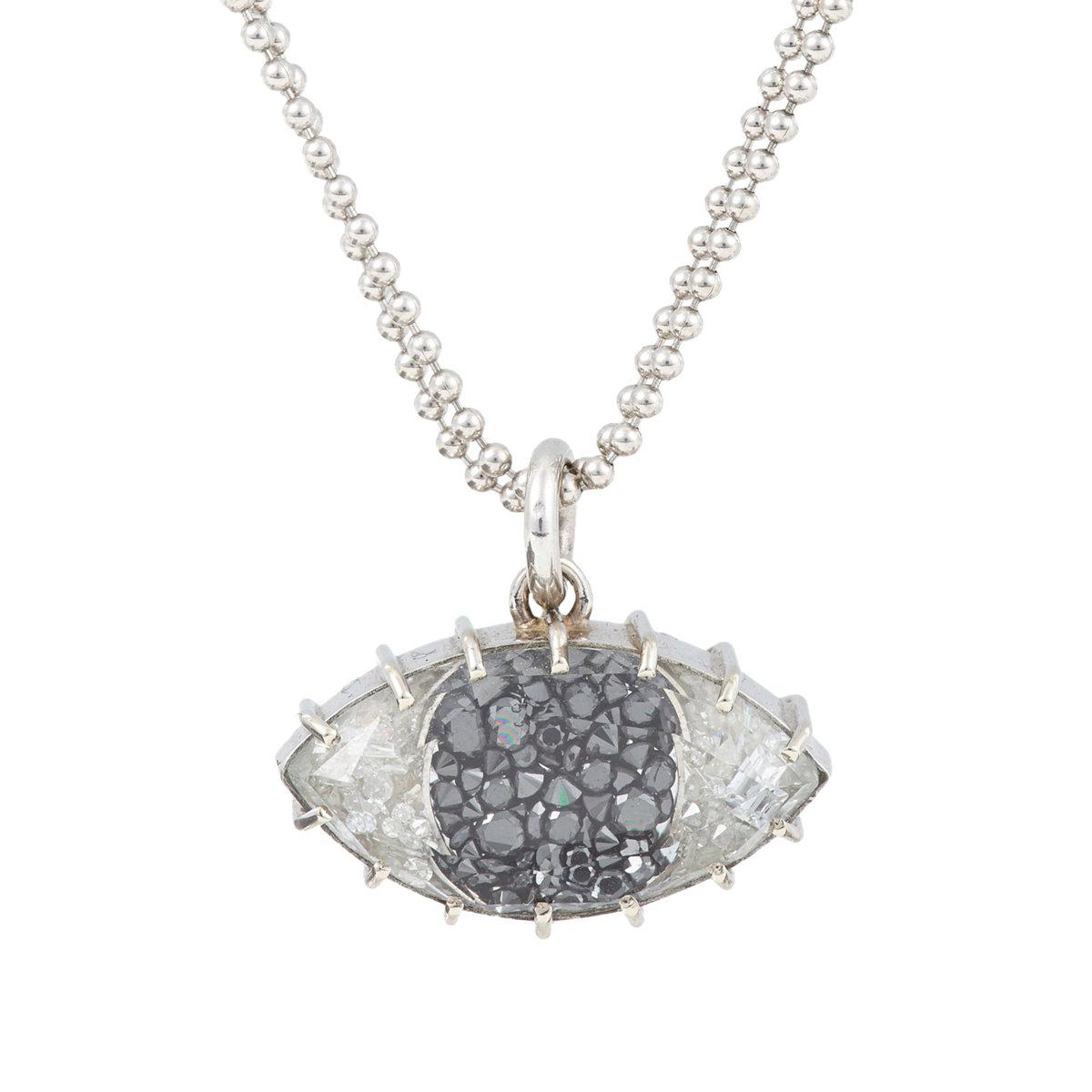 Lyst renee lewis womens diamond white gold evil eye pendant gallery aloadofball Gallery
