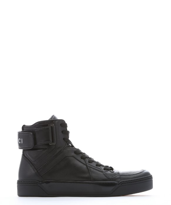 e6b1d369fb6e7 Men Sneakers Top Up Leather For Black High Lyst Gucci In Lace 4qfpOvc