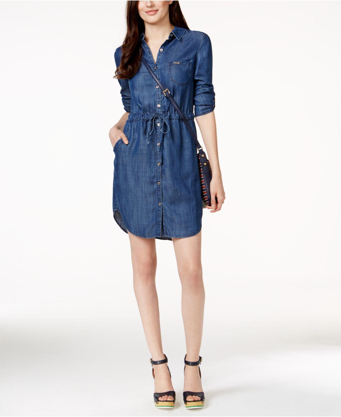 e9421968d74f2e Lyst - Tommy Hilfiger Belted Denim Shirtdress in Blue