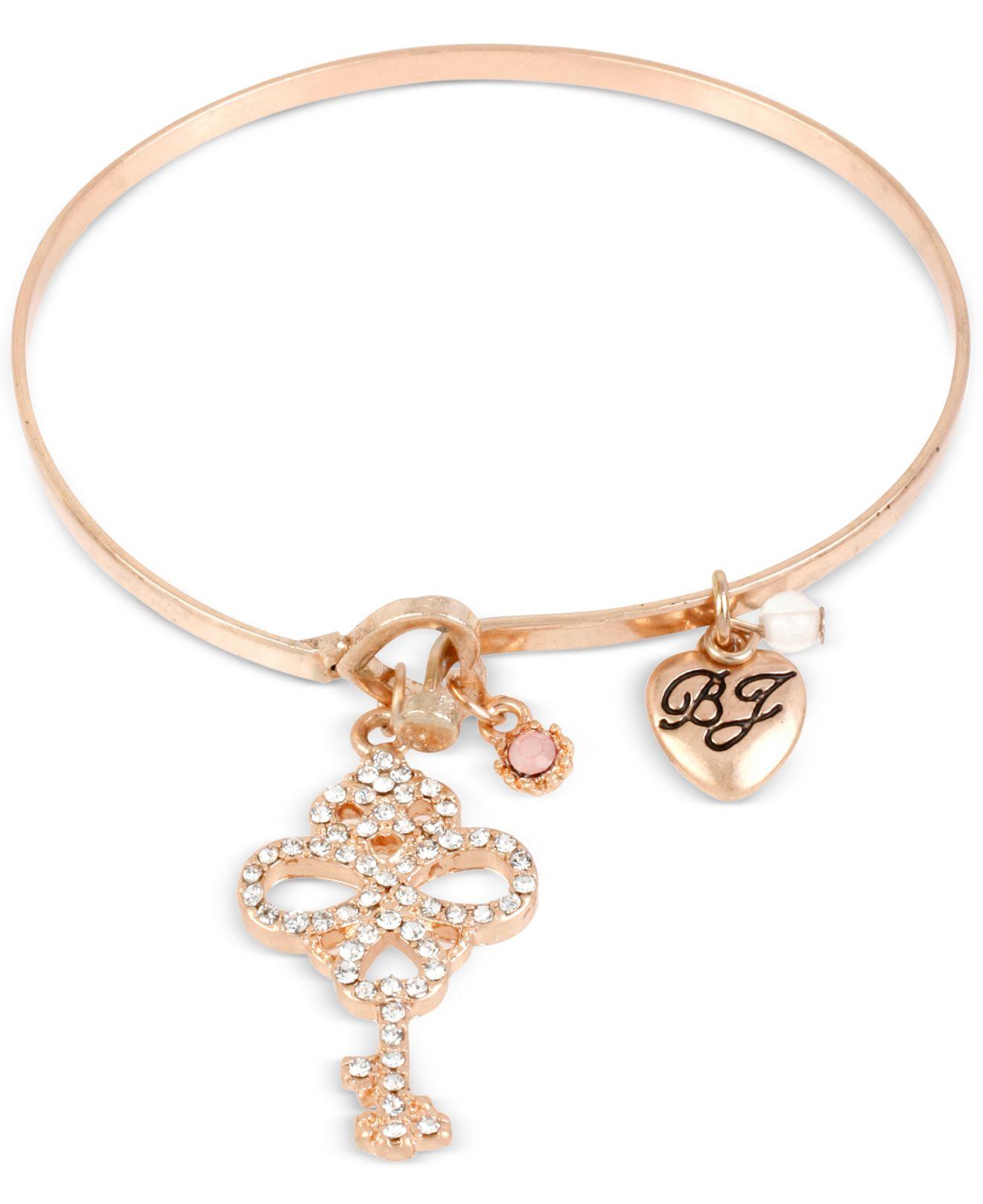 Betsey johnson Rose Gold-tone Key Charm Bangle Bracelet in ...