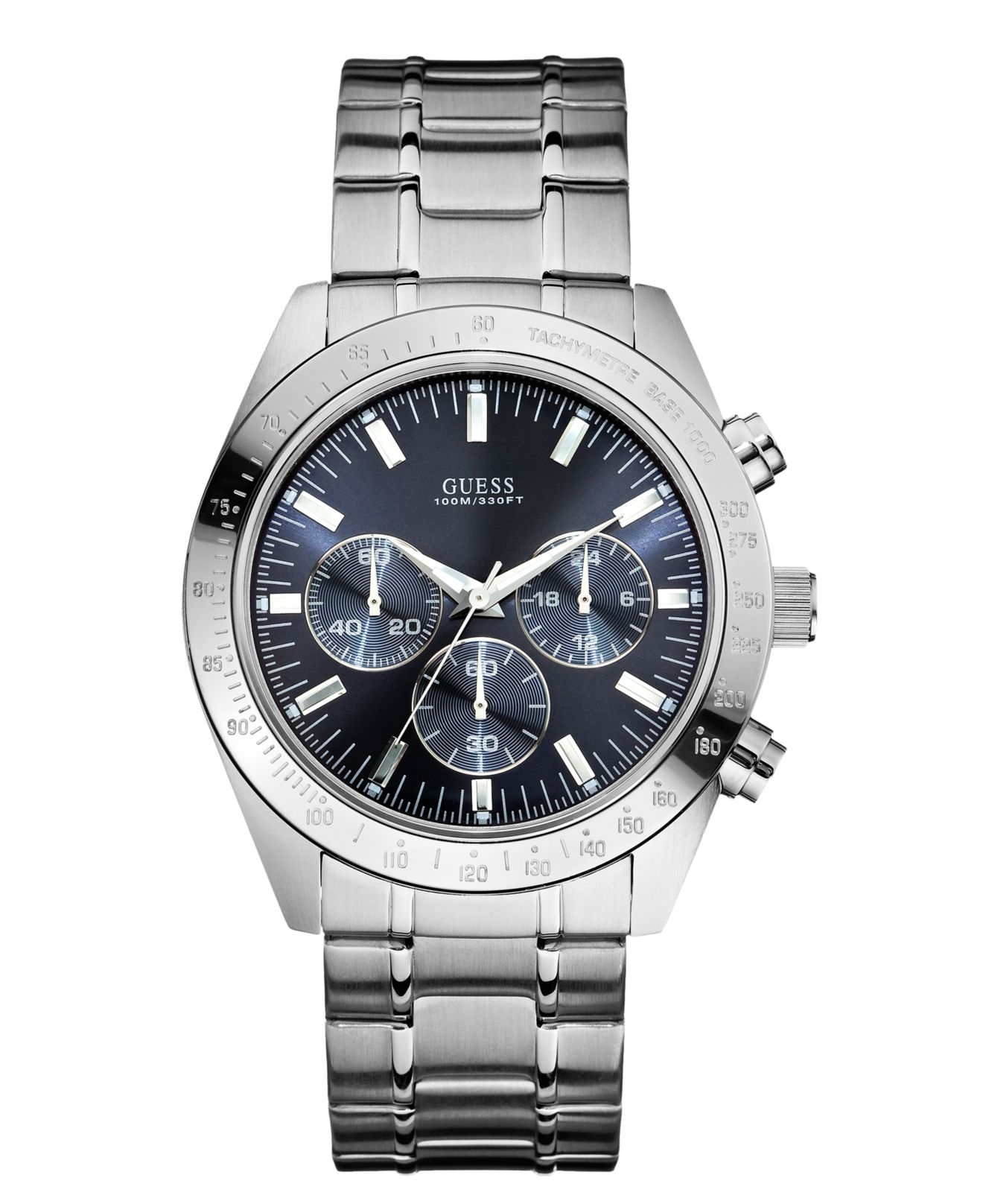 guess men s chronograph stainless steel bracelet 43mm u12505g3 in gallery