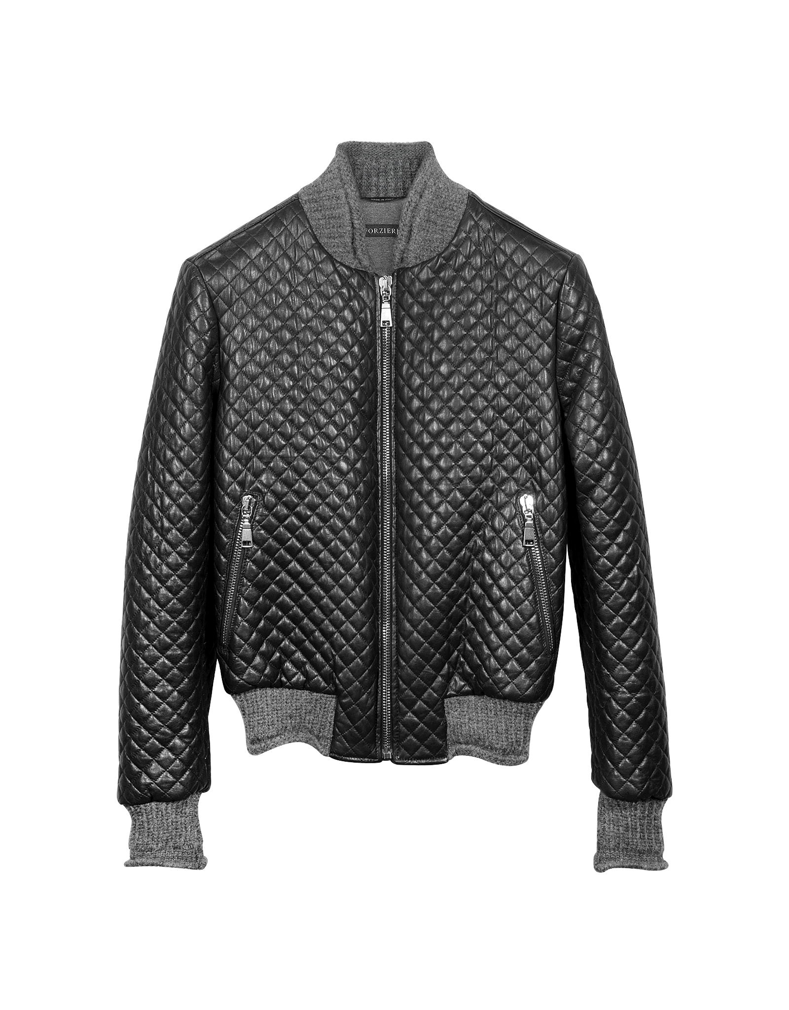 Forzieri Men S Black Quilted Leather Bomber Jacket For Men