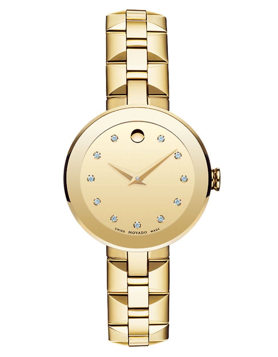 movado sapphire goldtone stainless steel and