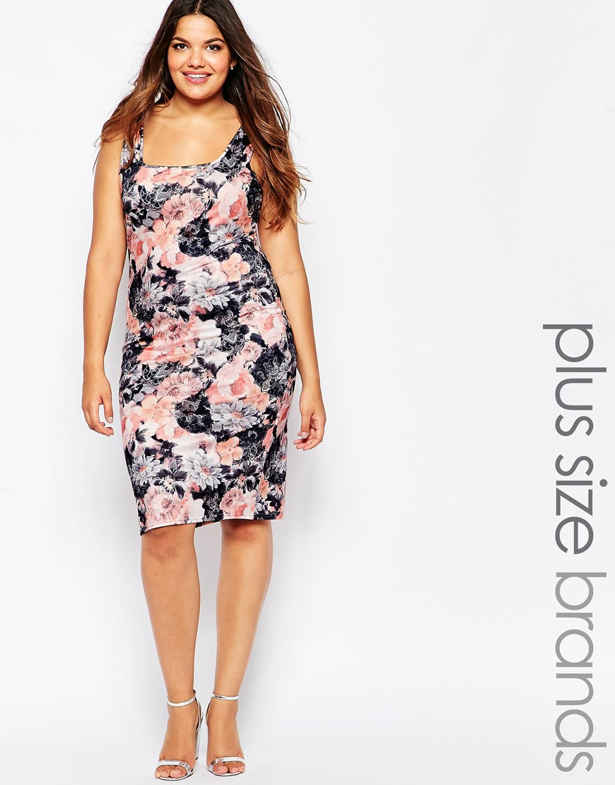 Plus Size Midi Dress With Square Neck In Watercolour Floral Print
