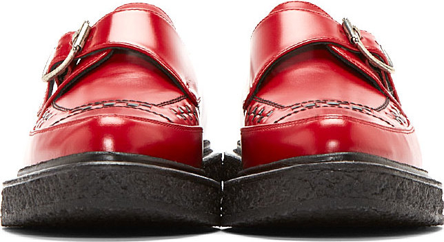 Lyst Saint Laurent Red Leather Monk Strap Creepers In Red