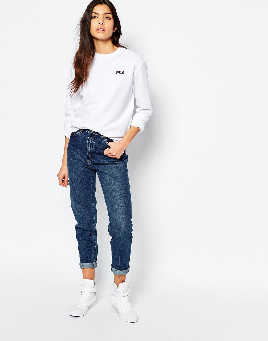 6dde1a4dd1 Fila White Oversized Boyfriend Sweatshirt With Small Logo