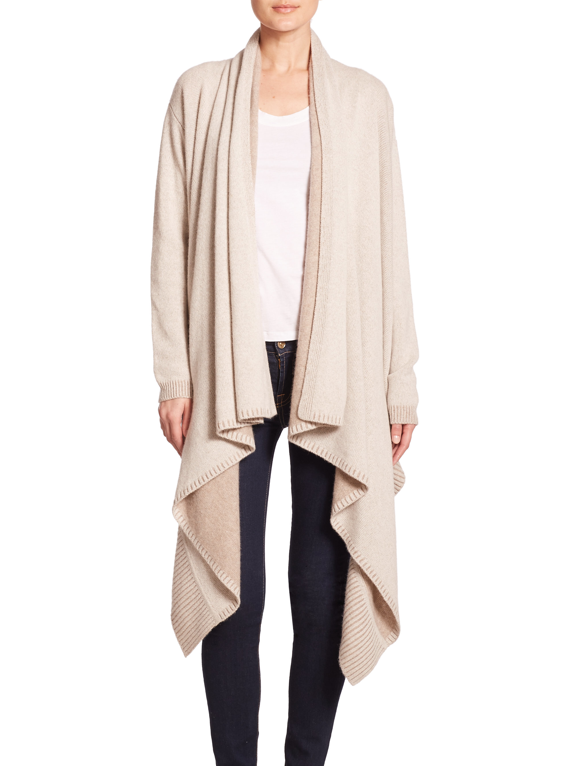Alice   olivia Wool/cashmere Waterfall Cardigan in Natural | Lyst