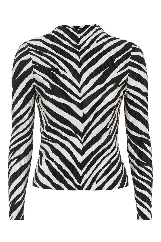 eef09240d6dd8 Lyst - TOPSHOP Zebra Crinkle Top in Black