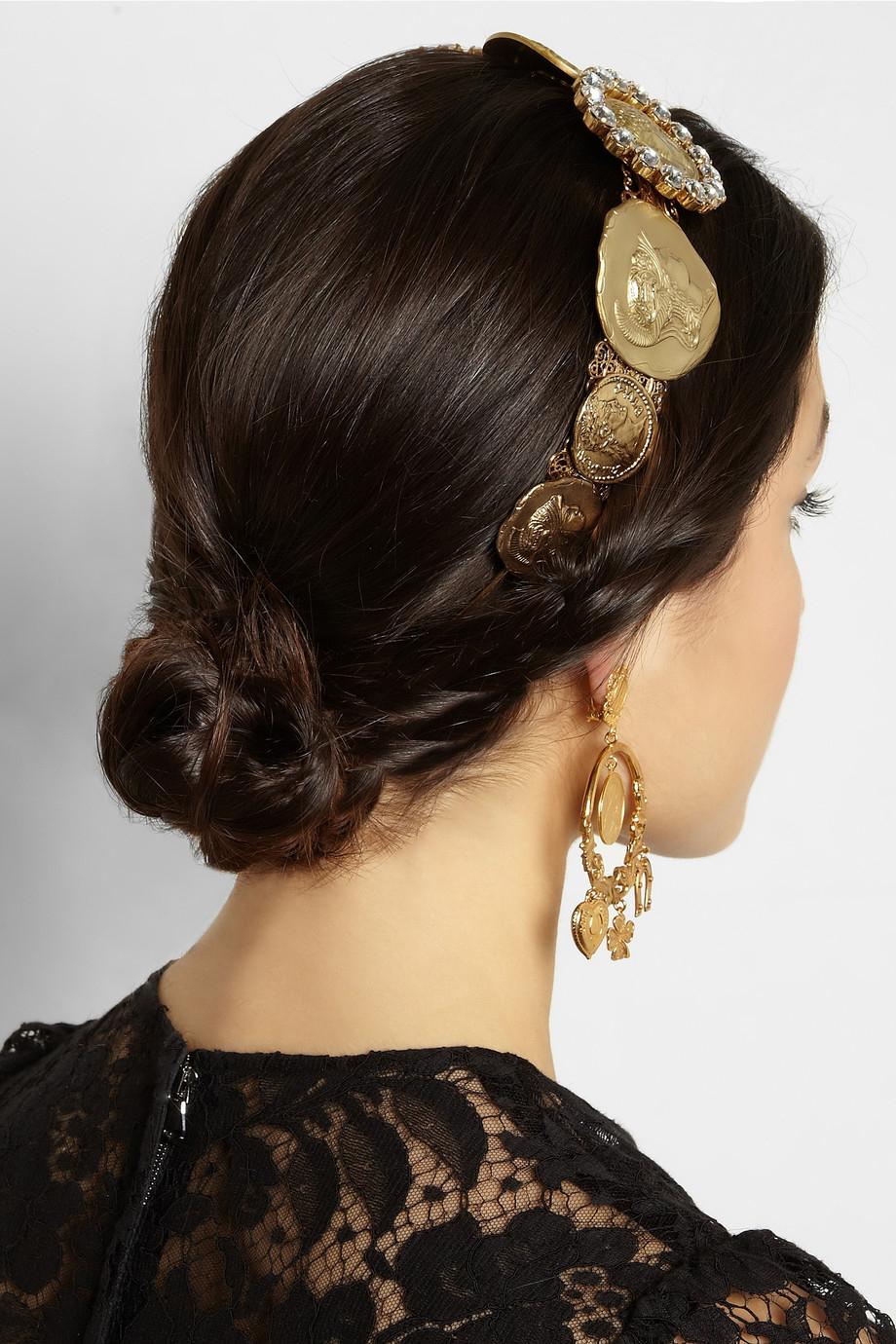 Dolce Amp Gabbana Gold Tone Swarovski Crystal Coin Headband