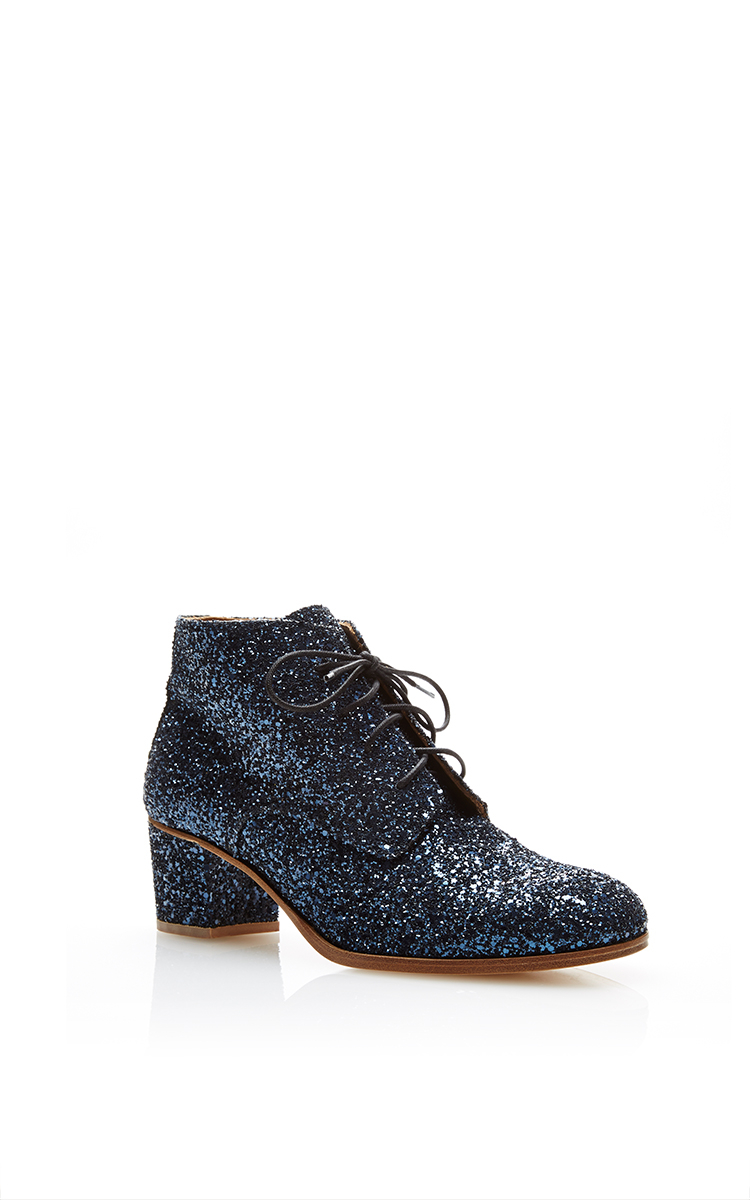 l f shoes glitter leather ankle boots in blue lyst