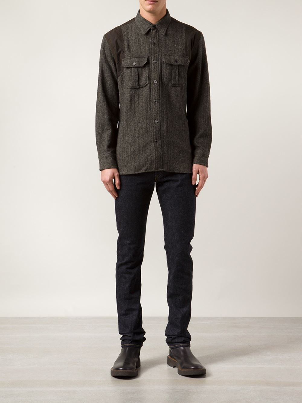 rrl slim fit jeans in blue for men lyst. Black Bedroom Furniture Sets. Home Design Ideas