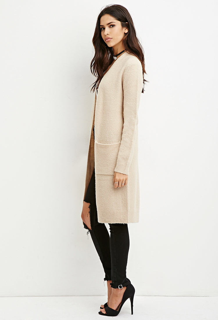 Forever 21 Open-front Longline Cardigan in Brown | Lyst