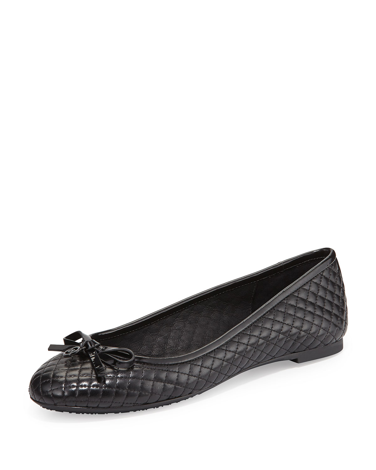 lyst michael michael kors melody quilted ballet flats in black. Black Bedroom Furniture Sets. Home Design Ideas