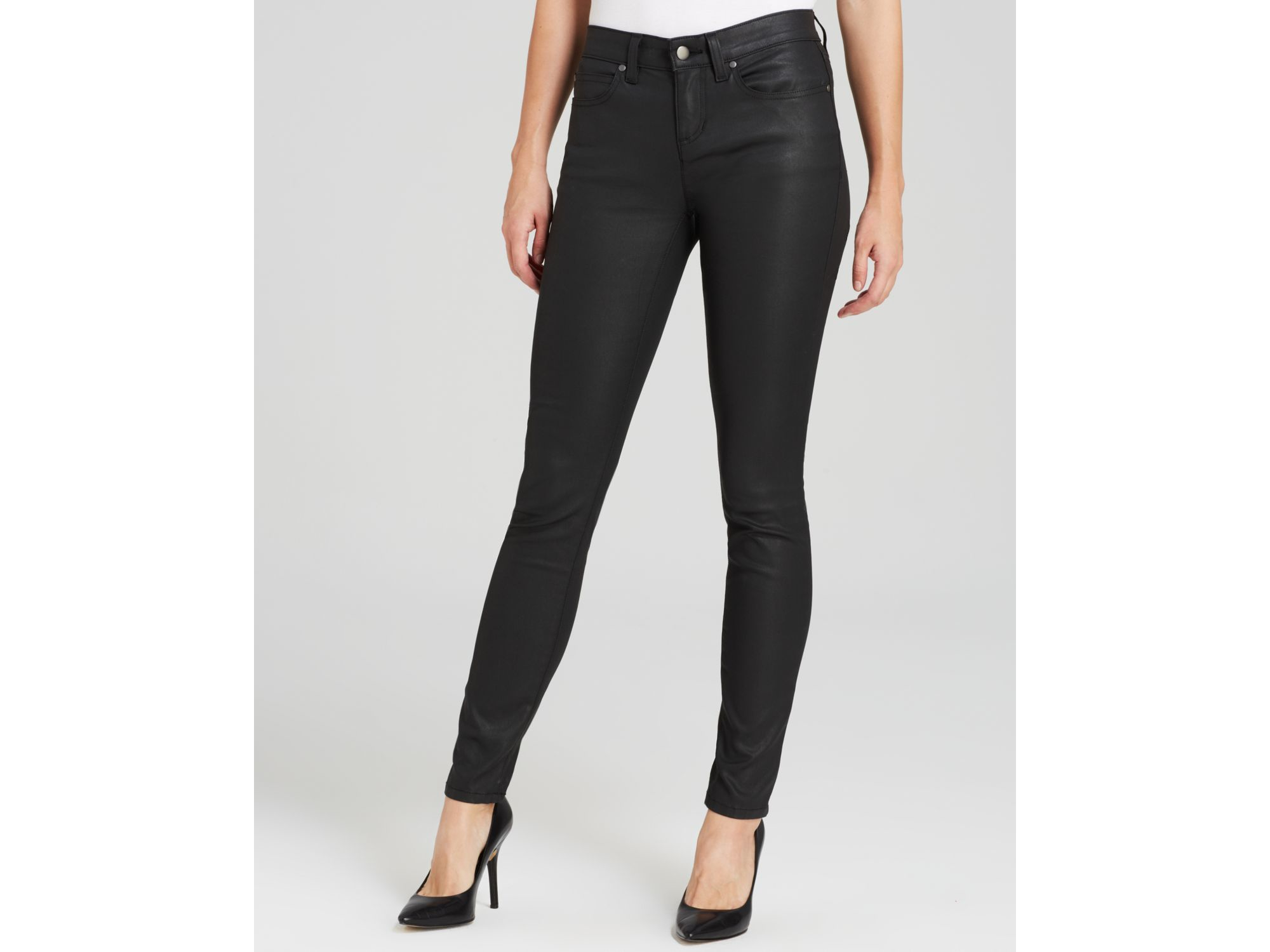 c0911f3276006 Eileen Fisher Coated Skinny Jeans In Black in Black - Lyst