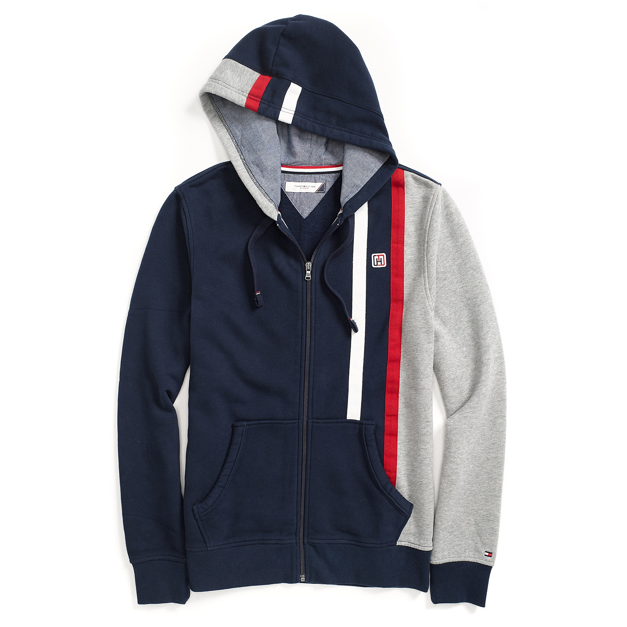 tommy hilfiger full zip hoodie in blue for men core navy. Black Bedroom Furniture Sets. Home Design Ideas