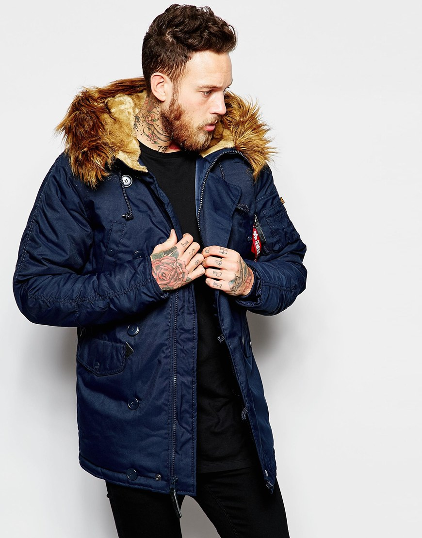 alegría Intentar total  Alpha Industries Explorer Parka In Blue for Men - Lyst