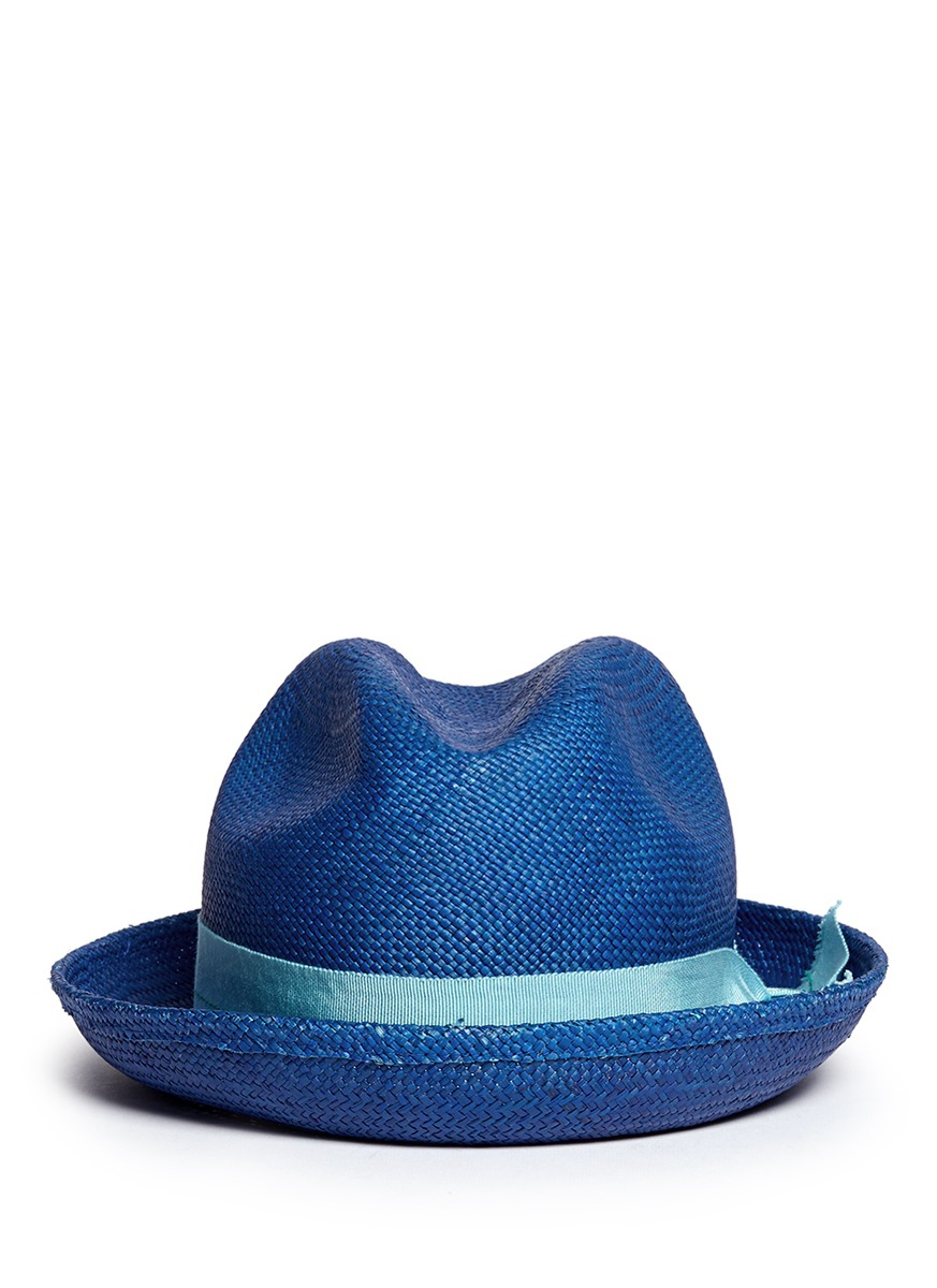 152a8074 Sensi Studio Feather Straw Panama Trilby Hat in Blue for Men - Lyst