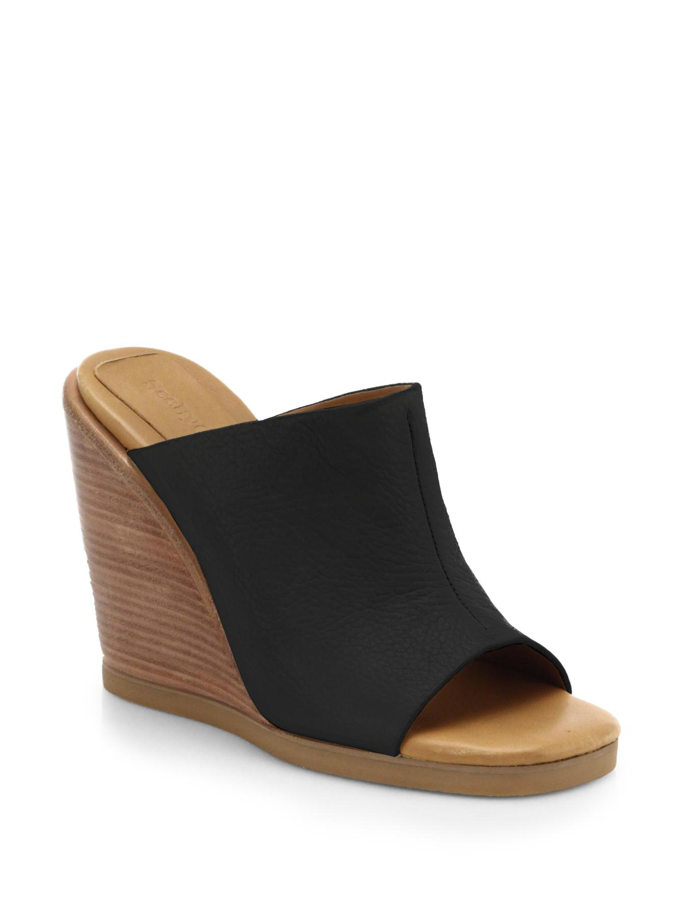 See By Chlo 233 Leather Wedge Mules In Black Lyst