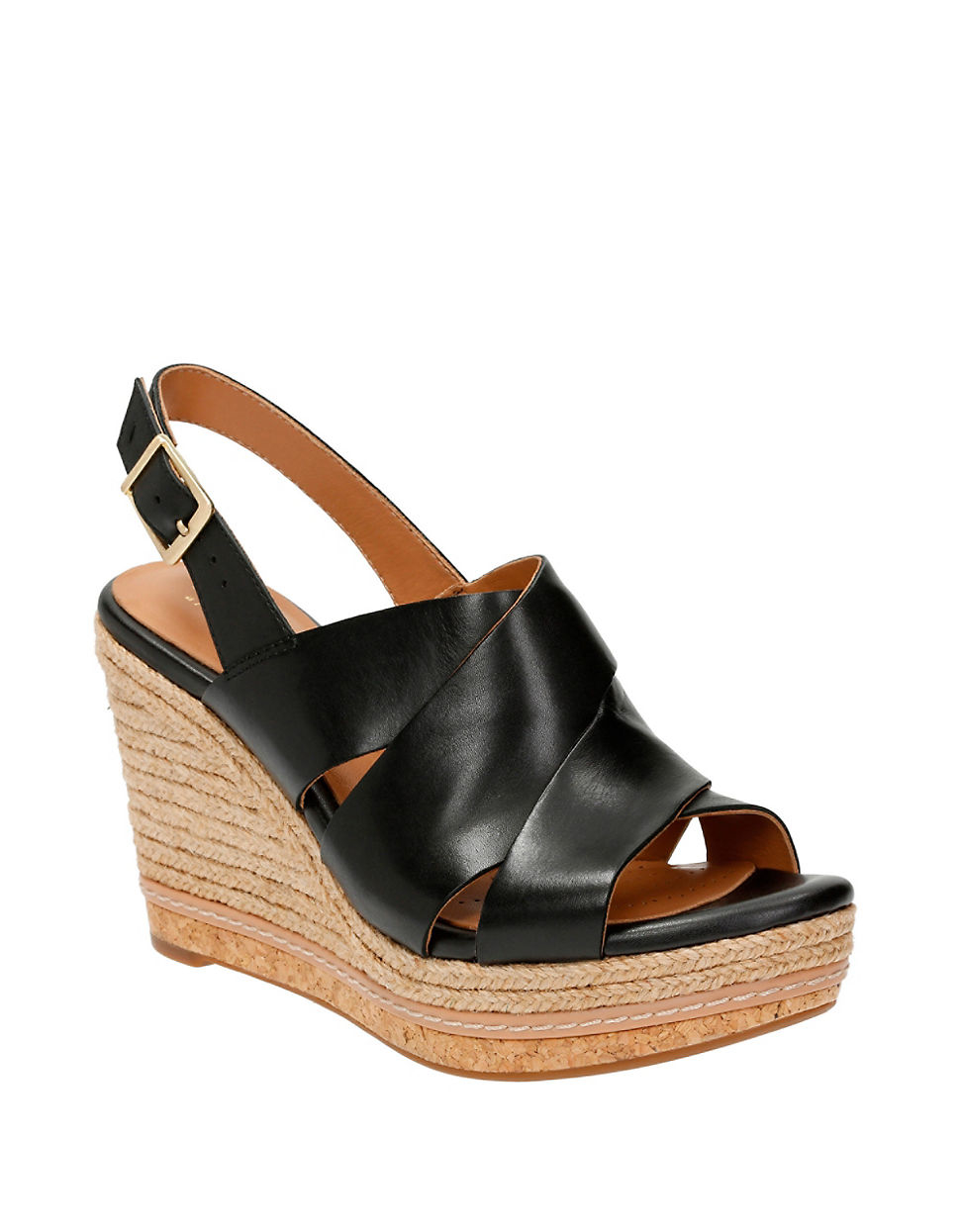 clarks amelia dally wedge sandals in black lyst