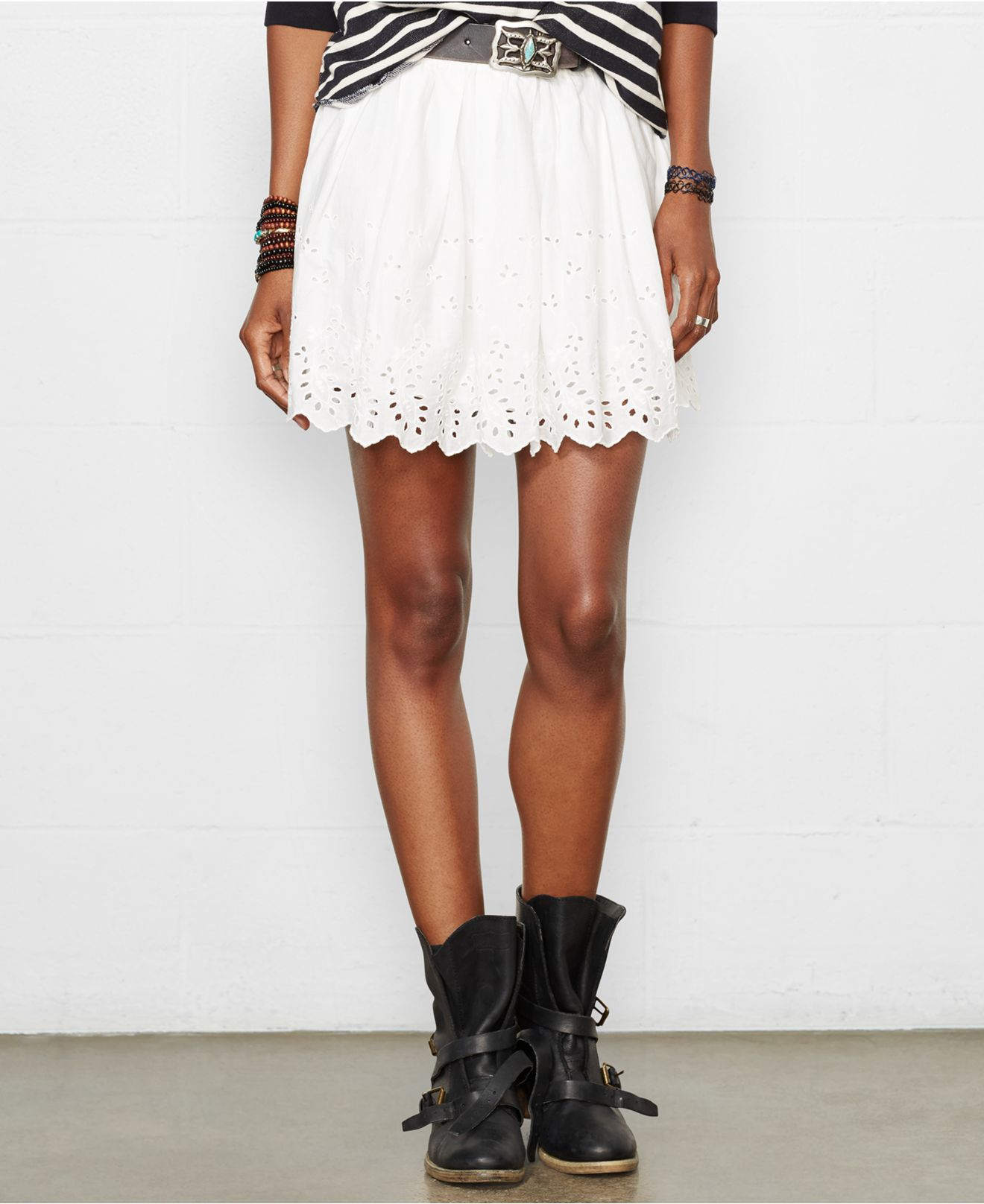 White Mini Denim Skirt - Redskirtz