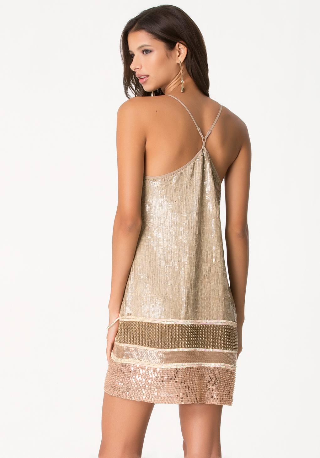 Bebe Bead &amp- Sequin Shift Dress in Natural - Lyst