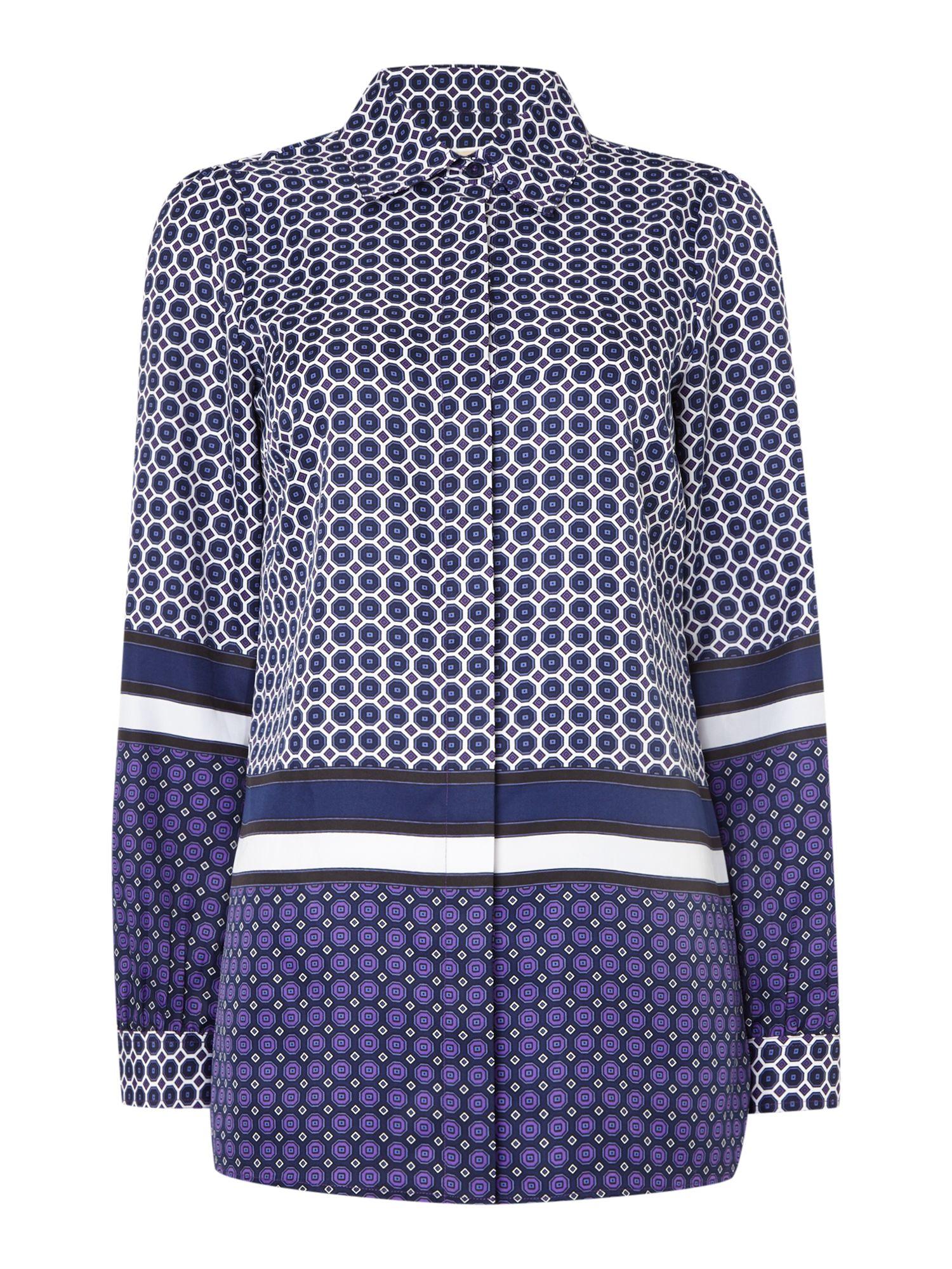 michael kors long sleeve border print shirt in purple lyst. Black Bedroom Furniture Sets. Home Design Ideas