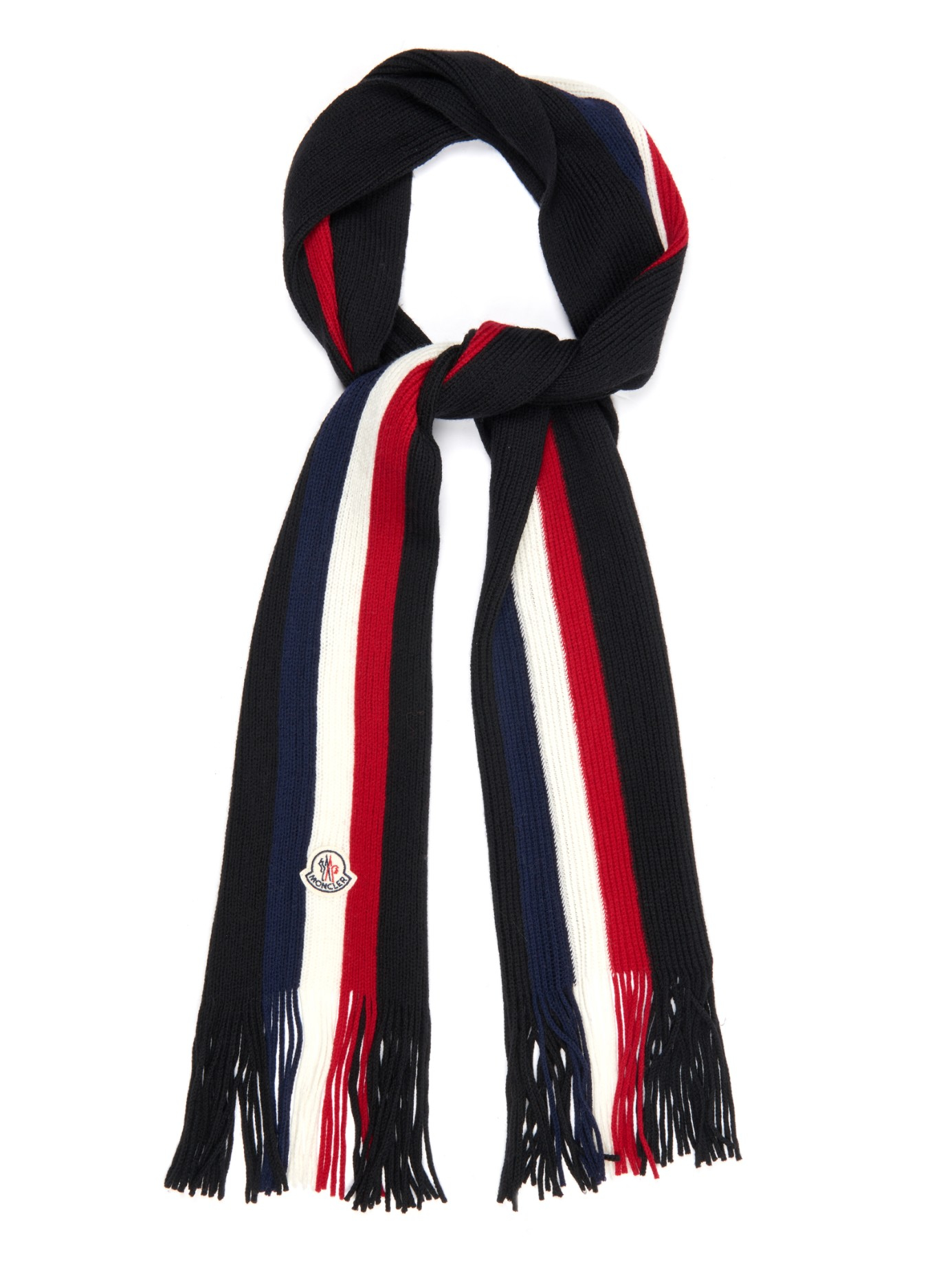de879ac9fbb4c Moncler Striped Wool Scarf in Black for Men - Lyst