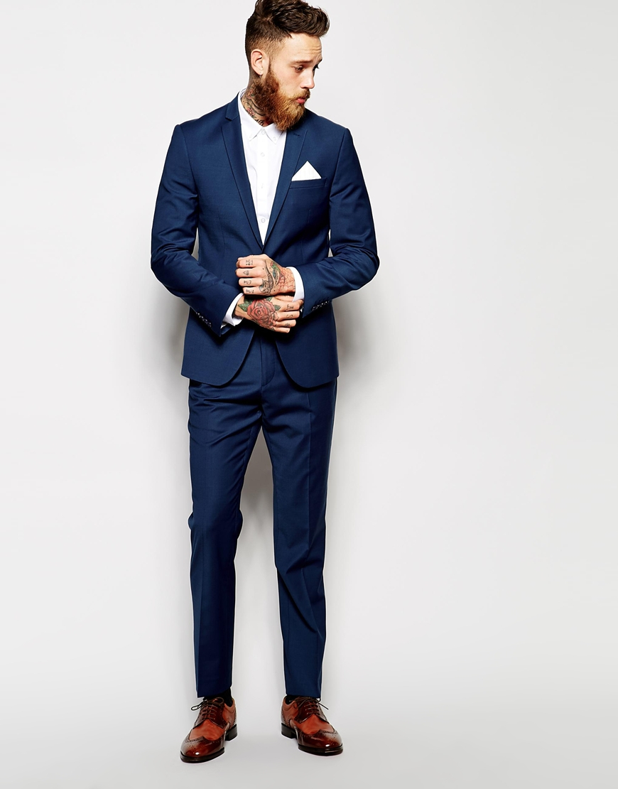 asos skinny suit pants in navy navy in blue for men lyst. Black Bedroom Furniture Sets. Home Design Ideas