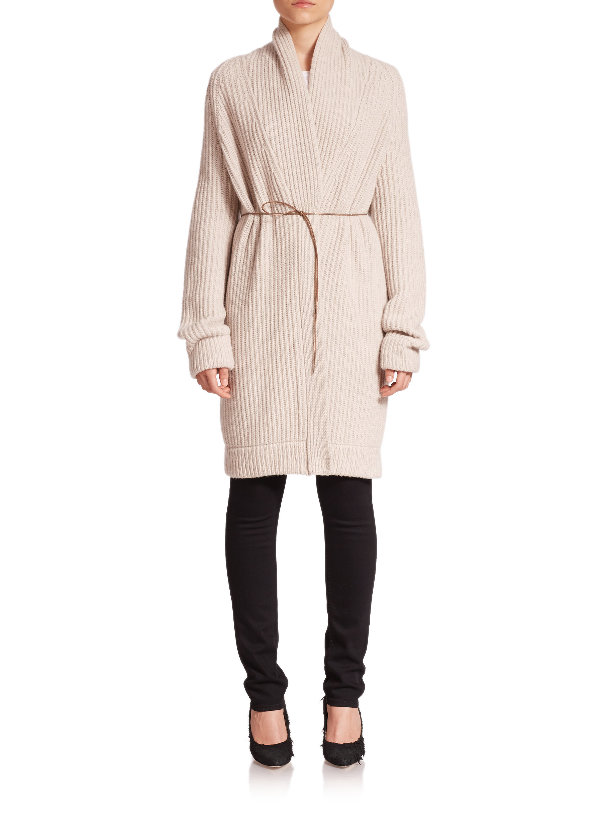 Helmut lang Wool & Cashmere Belted Long Cardigan in Natural | Lyst