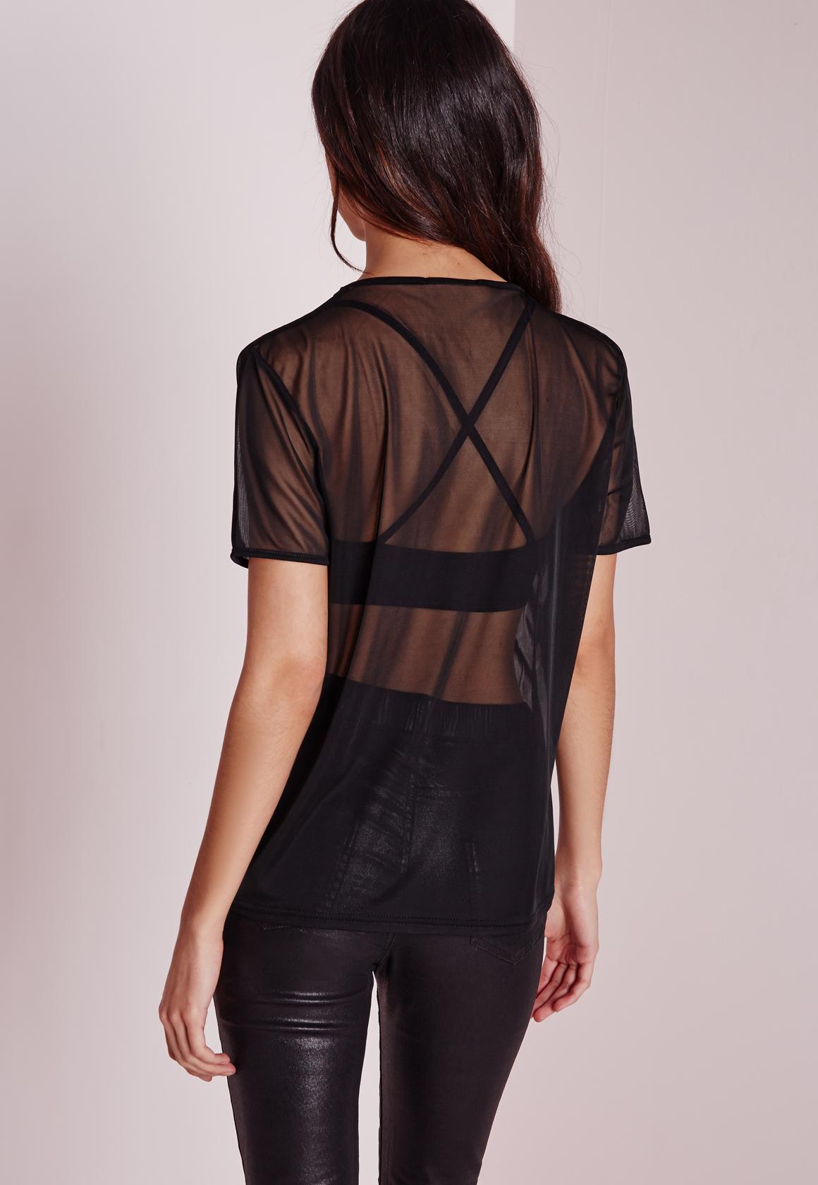 Missguided Petite Mesh T-shirt Black in Black