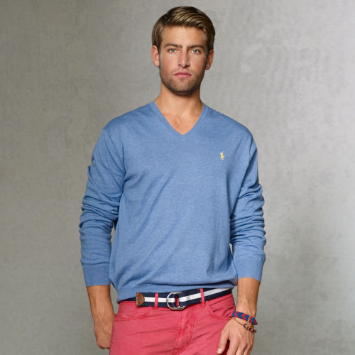 Polo ralph lauren Pima Cotton Vneck Sweater in Blue for Men | Lyst