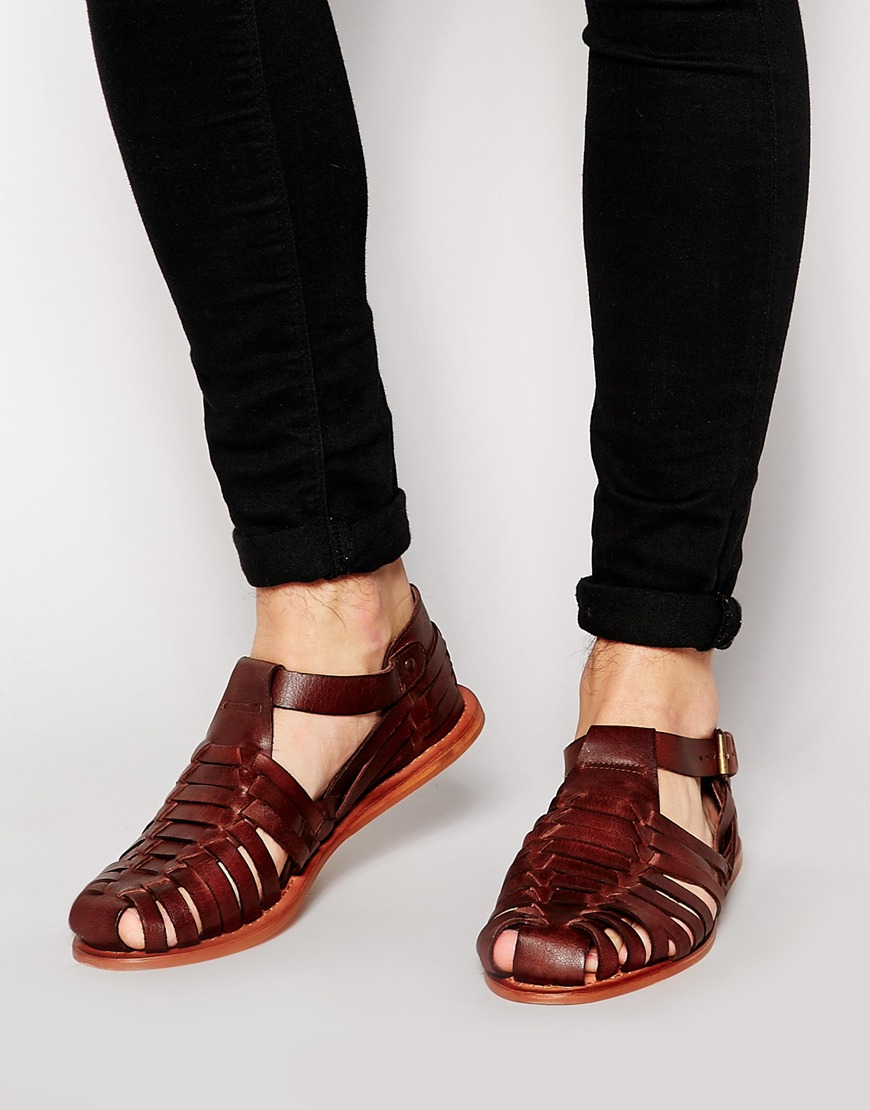 Lyst Asos Fisherman Sandals In Leather In Brown For Men