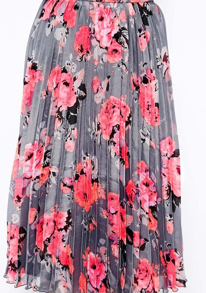 Asos Pleated Midi Skirt in Diaphanous Floral Print in ...