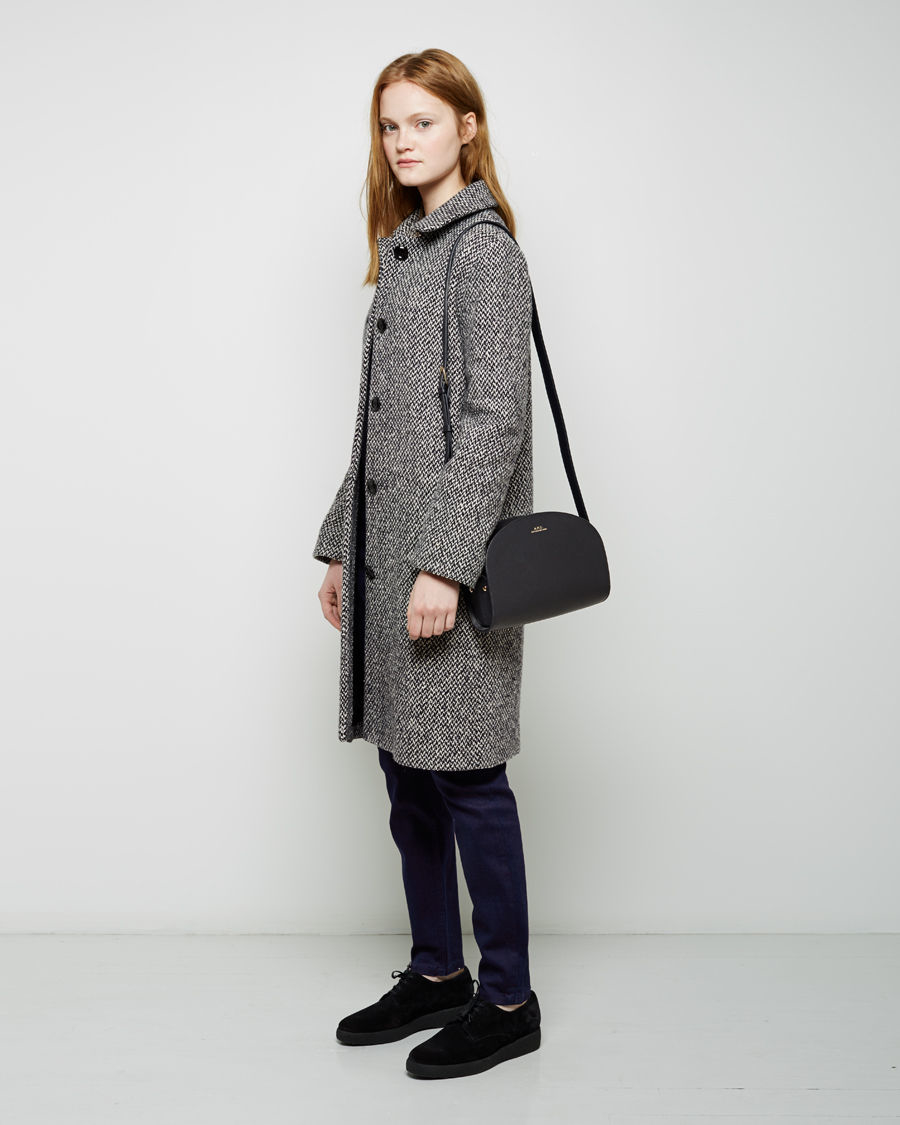 a p c sac demi lune leather shoulder bag in blue lyst. Black Bedroom Furniture Sets. Home Design Ideas