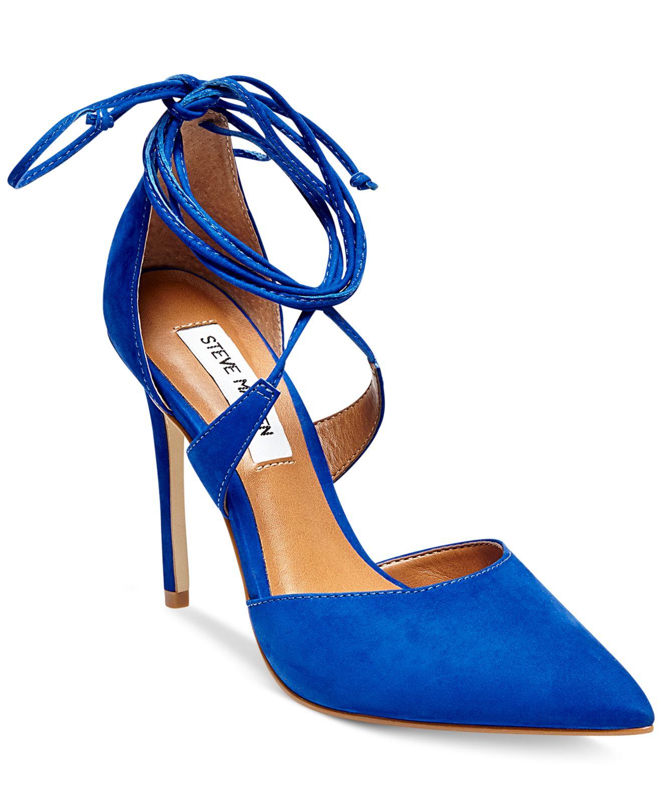 Steve Madden Women S Raela Ankle Wrap Pumps In Blue Lyst
