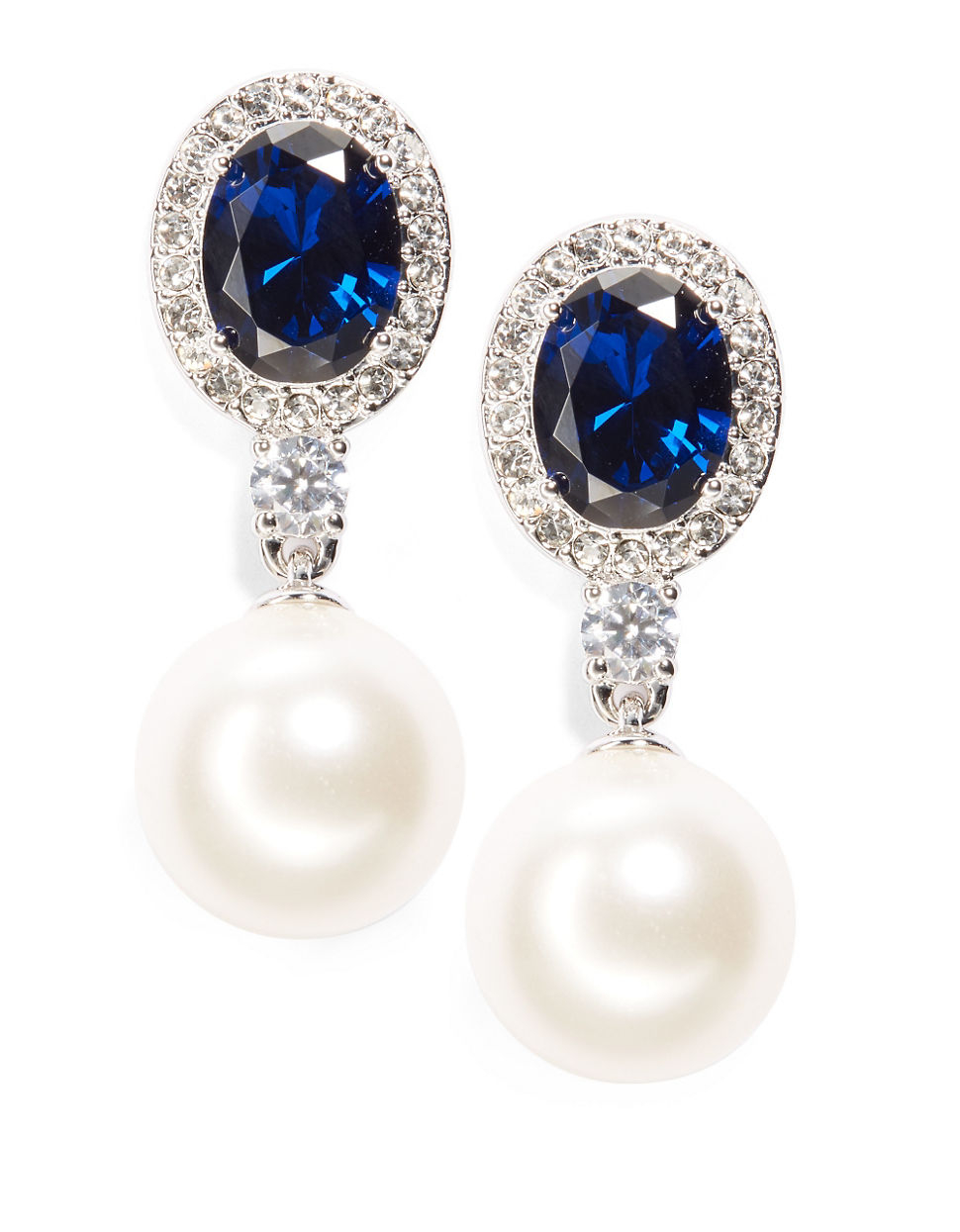 Nadri Faux Pearl And Sapphire Crystal Drop Earrings in Blue