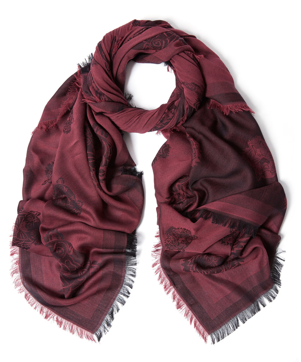 kenzo s iconics tiger heads scarf in purple lyst