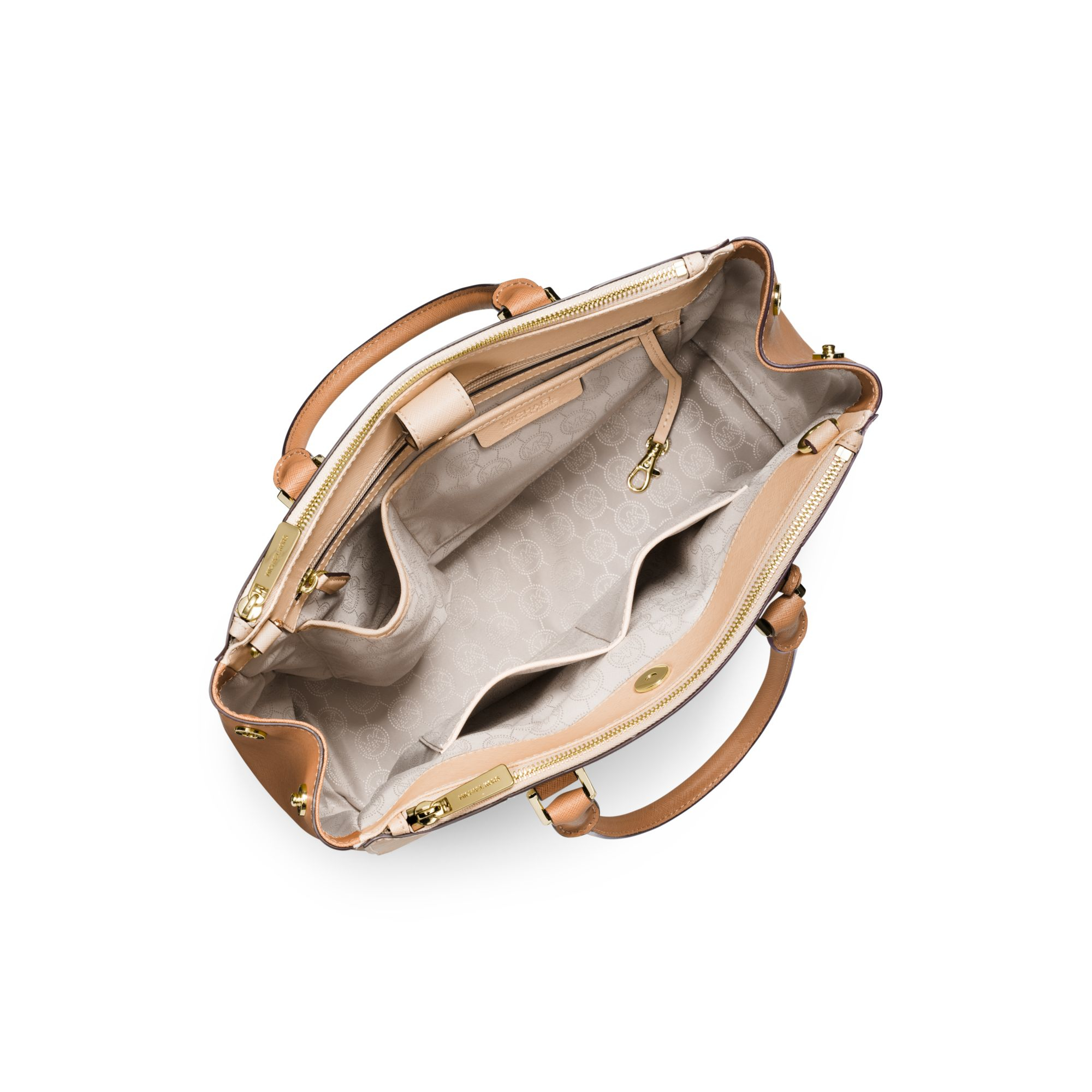 f49b379f8c7b39 Michael Kors Sutton Large Color-block Leather Satchel in Natural - Lyst
