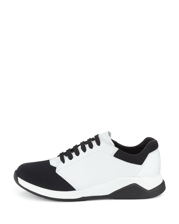 Prada Leather Amp Neoprene Mid Top Sneaker In White For Men