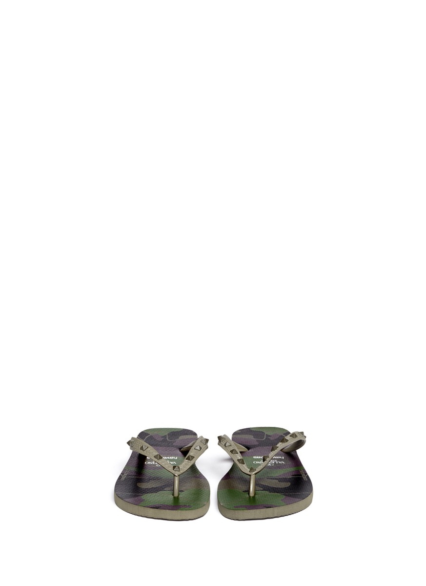 Valentino X Havaianas Studded Flip Flop In Green For Men -5992