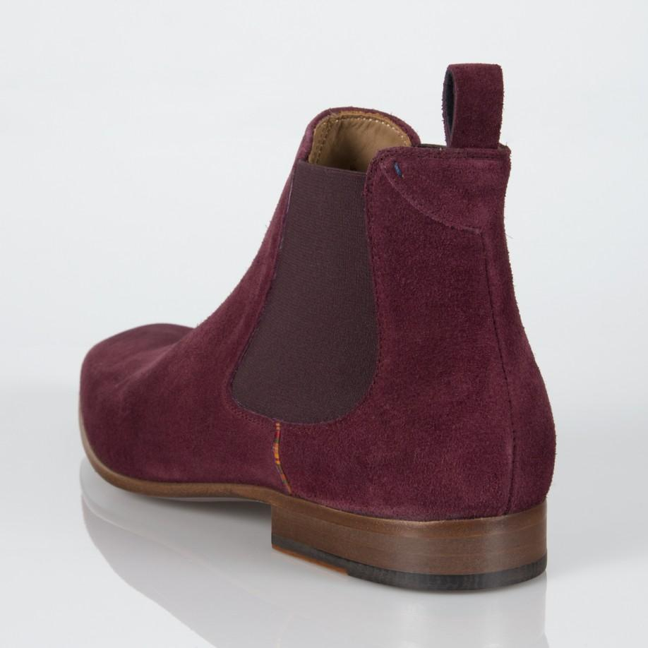 a768b82ed66 Paul Smith Purple Burgundy Suede 'Falconer' Chelsea Boots for men